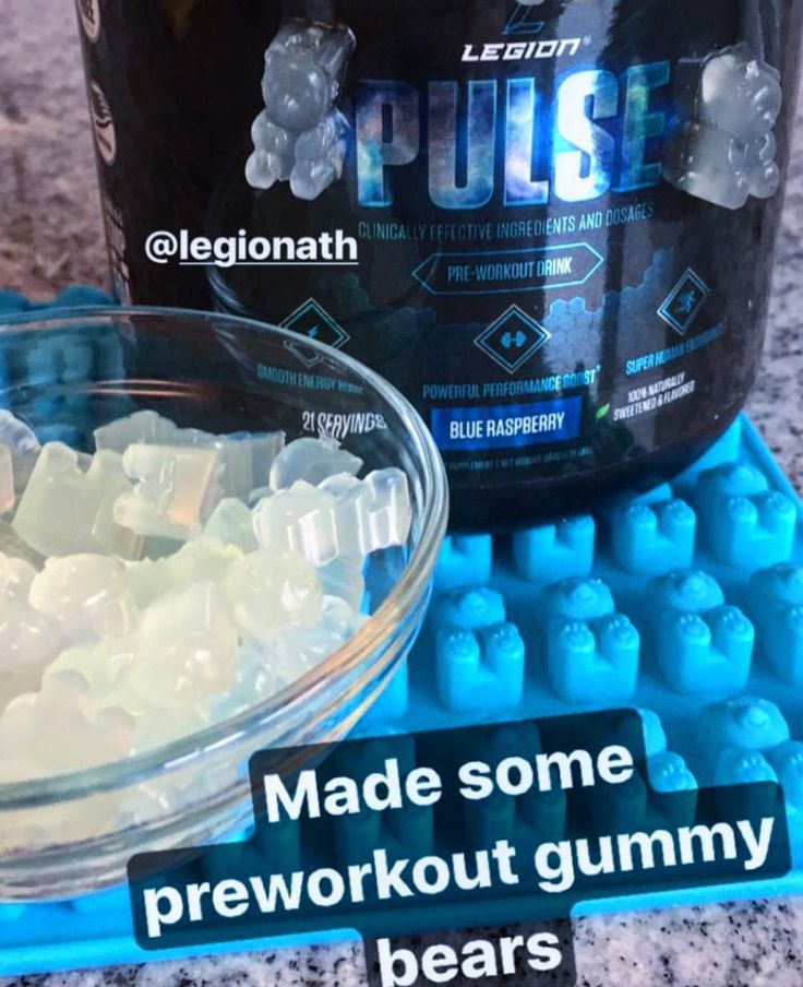 If you don't make gummy bears with your Pulse, are you really even #TeamLegion ?!  Recipe by @macro_vich  -Use 1 serving of Pulse preworkout -mix with however much water you drink it with. I did about 10pz -pour mix into a small saucepan and heat until hot (smoke off the top), but not boiling -turn heat to low -SLOWLY mix in 4 Gelatin packets one at a time (I used Knox brand). MIX well. (It will get clumpy if you don't do it slowly) -Refrigerate for 20mins or until firm And ENJOYYY the…