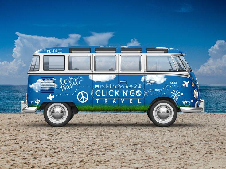 Click N Go Travel Kombi Vehicle Wrap Design by Bradley Lancaster  #signs #vehicle #wrap #van #kombi #signage #travel #camping #bradleylancaster