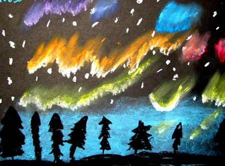 Ross678's art on Artsonia- Northern Lights with oil pastels