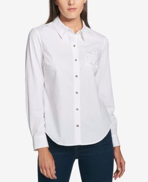 Tommy Hilfiger Cotton Logo-Embroidered Blouse, Created for Macy's - White XXL