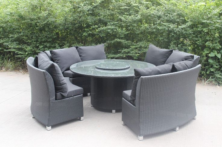 This innovative set combines the sofa with the dining set. Only for Perth. Seats 8. Featuring a stylish lazy Susan. Measurements: (1pcs)*Table 150*150*70cm (4pcs)*Bench 131*75*88cm.