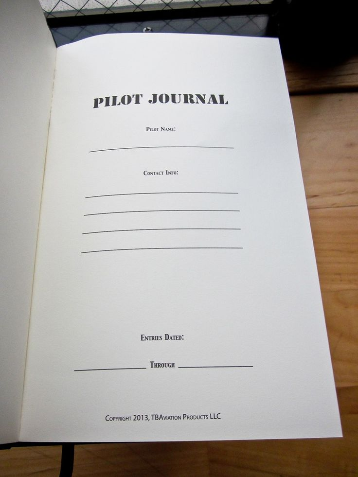 Pilot Journal Notebook - for you General Aviation Pilots out there - copy recommendation letter format for tatkal passport