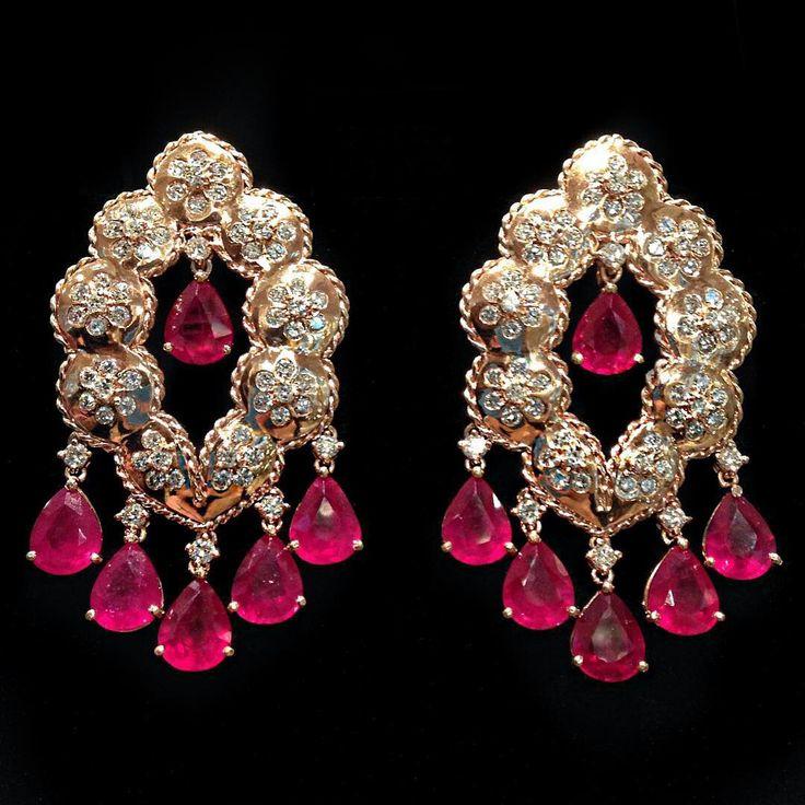 Rubis e ouro rosa estilo Bizance