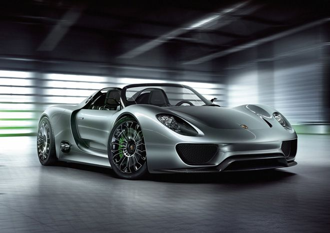 Porsche 918... world's First Plug-In Hybrid Supercar... the combination of the two electric motors – on their own more powerful than the 1974 911 Turbo – and the mid-engine V8 singing at 9,000 rpm brings total output up to 770 hp, with an even more impressive 553 pound-feet of torque available across the rev range and powers the car from zero to 60 mph in less than 3 seconds, 124 mph in less than 9 seconds and on to a top speed of 202 mph.