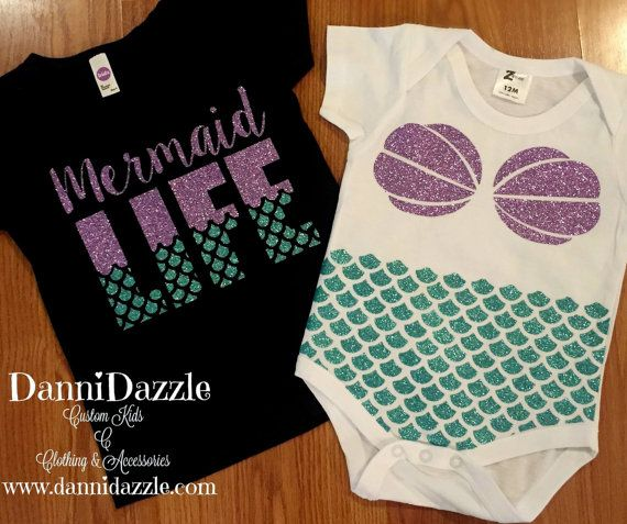 """This item is for perfect for the little girl that love sea life and and mermaids. This listing is for ONE SHORT SLEEVE ONESIE with Mermaid top and scales. Lettering is made out of heat transfer vinyl. Default color for lettering/design is Light Purple Glitter and Aqua Glitter. If you would like this done in a different color, please let me know in a """"note to seller"""" when checking out. Please allow up to 6-8 days before order to be made. As each order is made to order just for you. If you…"""