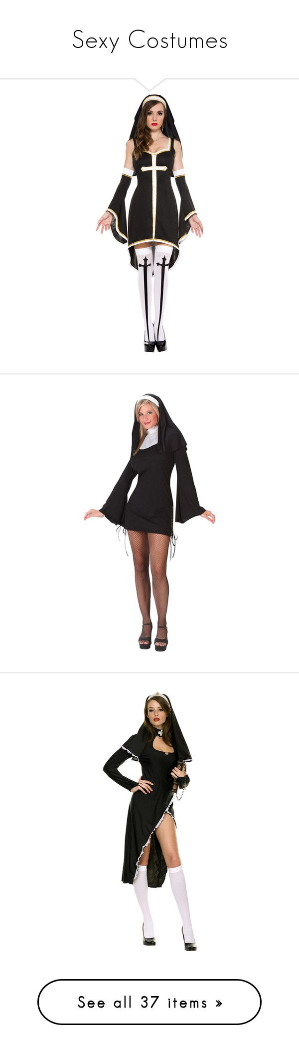 """""""Sexy Costumes"""" by victoria-motionless-cerulli ❤ liked on Polyvore featuring costumes, adult women halloween costumes, adult costume, white nun costume, ladies costumes, womens snow white halloween costume, womens snow white costume, sexy womens halloween costumes, sexy women costumes and sexy costumes"""