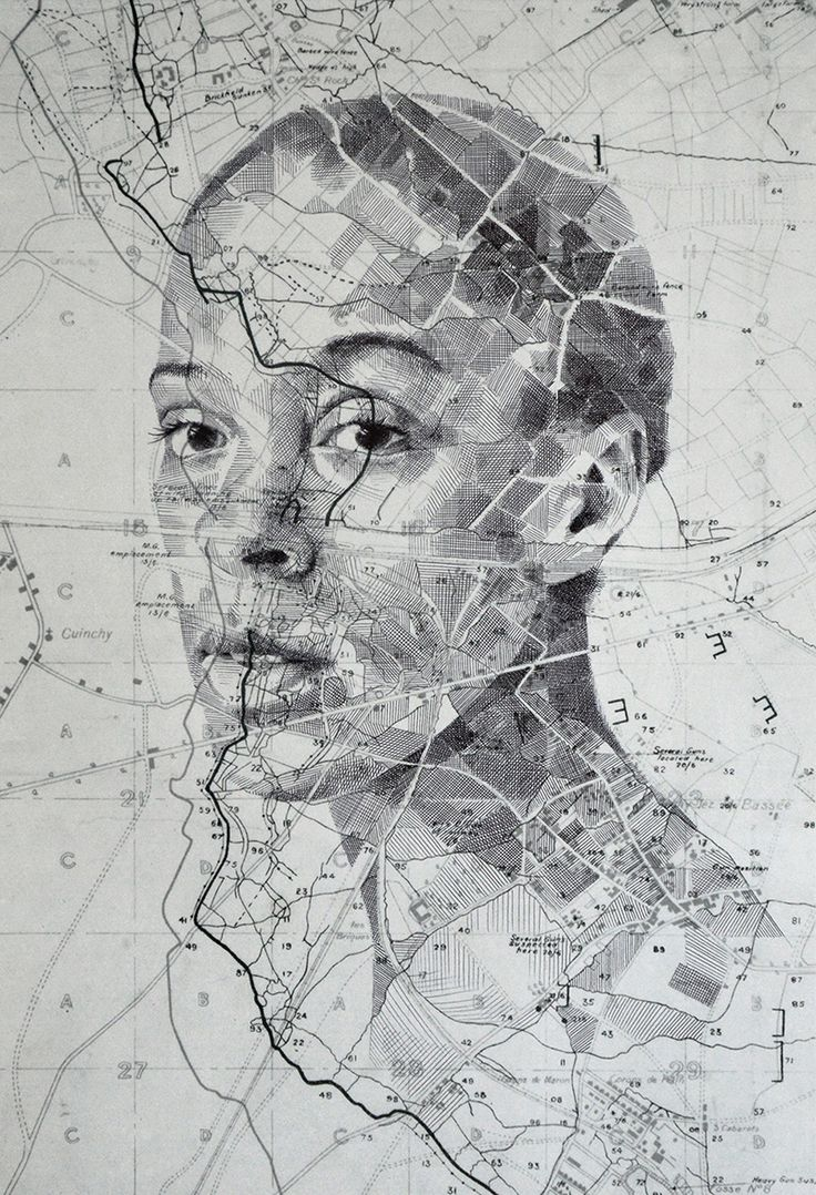 Ed Fairburn is combining human features and maps. He is shading along contour lines and between roads, producing highly original portraits.