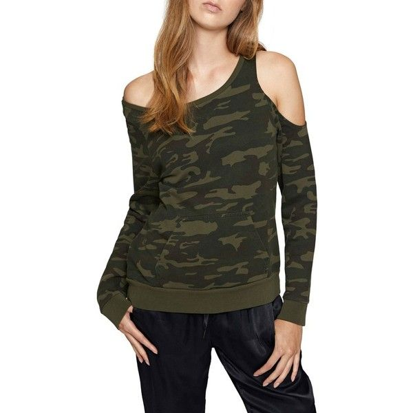 Women's Sanctuary Cold Shoulder Camo Sweatshirt ($79) ❤ liked on Polyvore featuring tops, hoodies, sweatshirts, heritage camo, petite, cold shoulder tops, cut-out shoulder tops, urban camo sweatshirt, slouchy pullover and slouchy sweatshirt