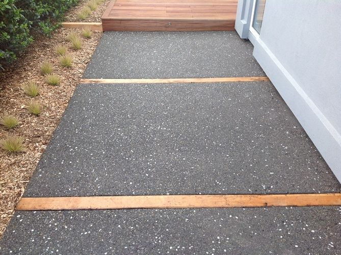 exposed aggregate with timber inserts                                                                                                                                                                                 More