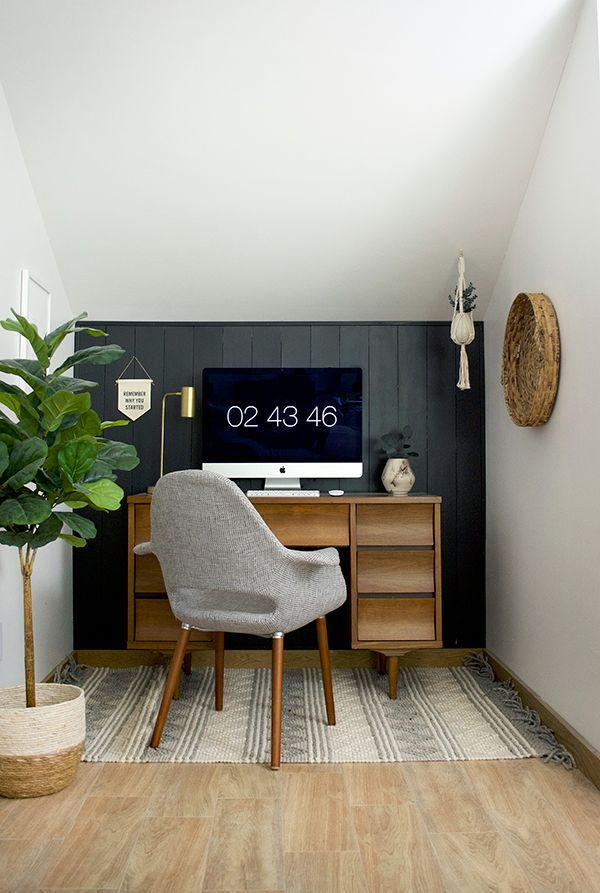 DIY Dark Vertical Shiplap and Office Nook Reveal