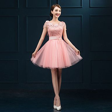 Cocktail+Party+Dress+Ball+Gown+Jewel+Short+/+Mini+Lace+with+Appliques+–+USD+$+49.99