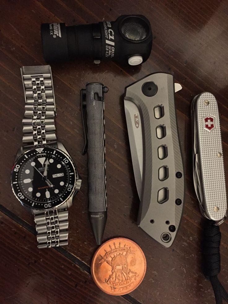 EDC, zero tolerance 0801, Seiko SKX007, Broker Tac Pen, Victorinox, Copper Molan Lave Coin, and Army Tec light