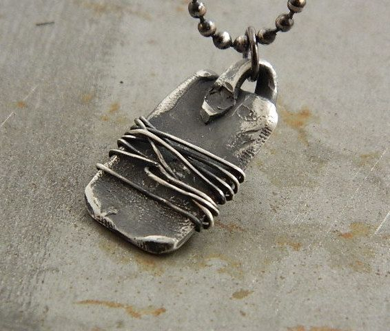 Rustic Multi Wire Wrapped  Industrial Fine Silver Necklace For Men