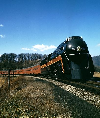 #Norfolk & Western passenger train, the Powhatan Arrow. Built in the Roanoke shops, this J class steam engine was capable of a sustained speed of 110mph.