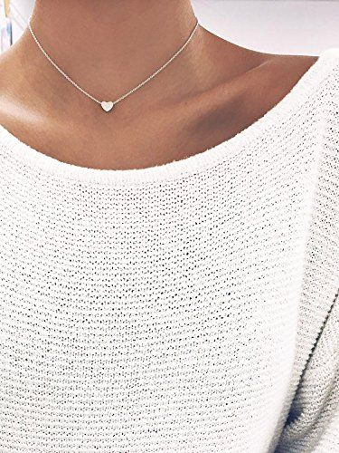 a7afc5f99f Amazon.com: Altitude Boutique Simple Heart Necklace for Her, Pendant Love  Choker (Gold, Silver, Rose Gold) (Black): Jewelry