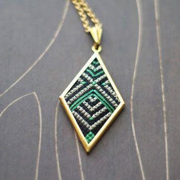 Art Deco cross stitch necklace/ pendant emerald. $36.00, via Etsy.