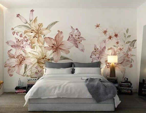 3d Elegant Flowers Gn625 Wallpaper Mural Decal Mural Photo Etsy Mural Wallpaper Wall Murals Adhesive Wall Art
