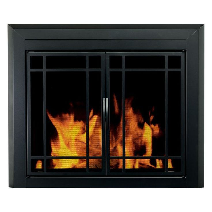Pleasant Hearth Easton Prairie Cabinet Fireplace Screen and 9-Pane Smoked Glass Doors - Black - EA-501