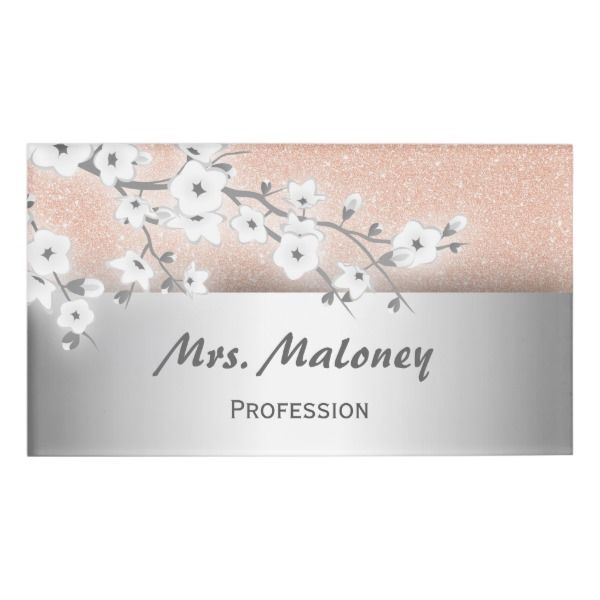 Floral Cherry Blossoms Rose Gold Name Tag Custom Nametags Teacher Tutor Business Nametags Officesupplies Rose Gold Style Name Tags Floral