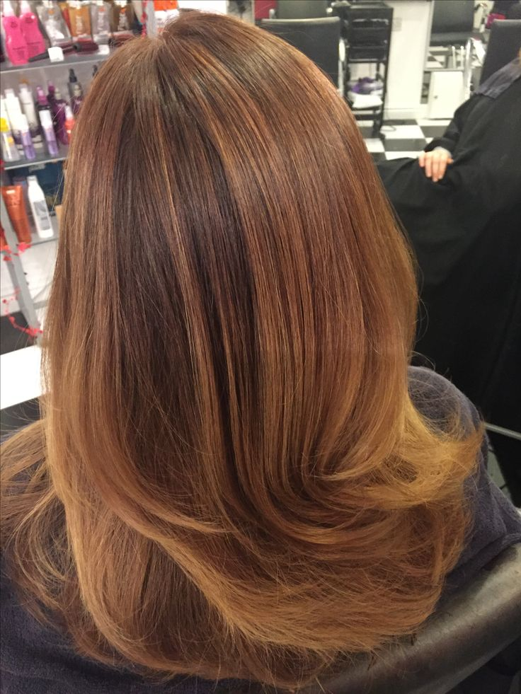 Golden butterscotch ombré highlights with a deep chocolate root stretch at Spectrum Hair Boutique St Helens 01744 755126