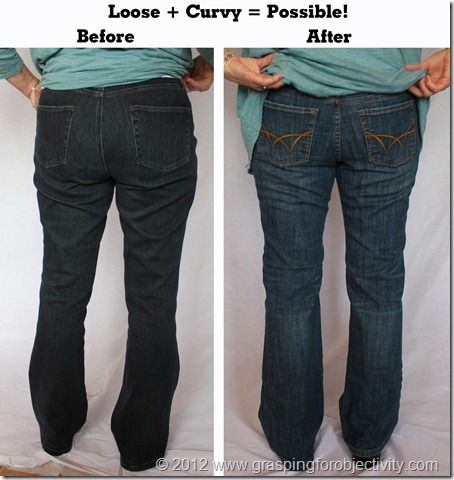 Subject C is a 57 year old size 8 who did not want tight jeans. By combining proper pocket placement with a more modern color and leg flair, the following can be done: