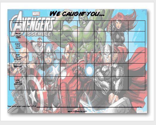 free printable avengers behavior chart from craft