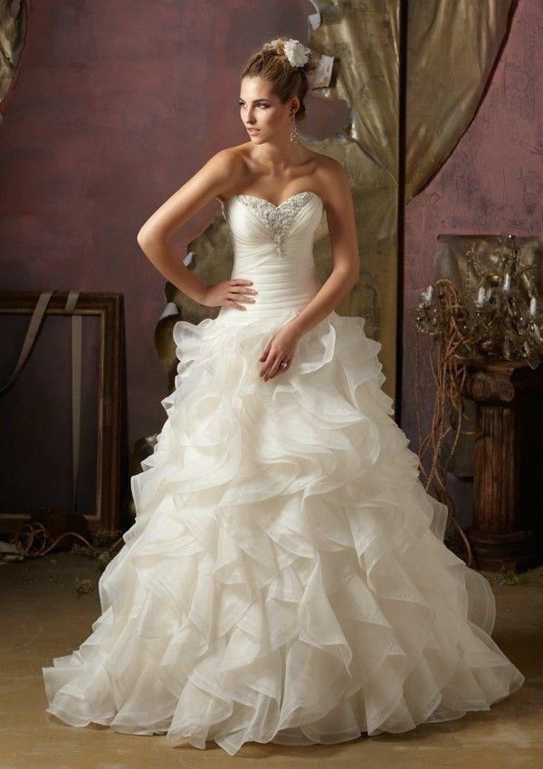 Une ligne-aimée sans bretelles robe de mariée en organza - Robes de Mariage Boutique