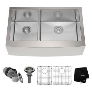 KRAUS Farmhouse Apron Front Stainless Steel 33 in. Double Bowl Kitchen Sink Kit in Stainless Steel-KHF204-33 - The Home Depot