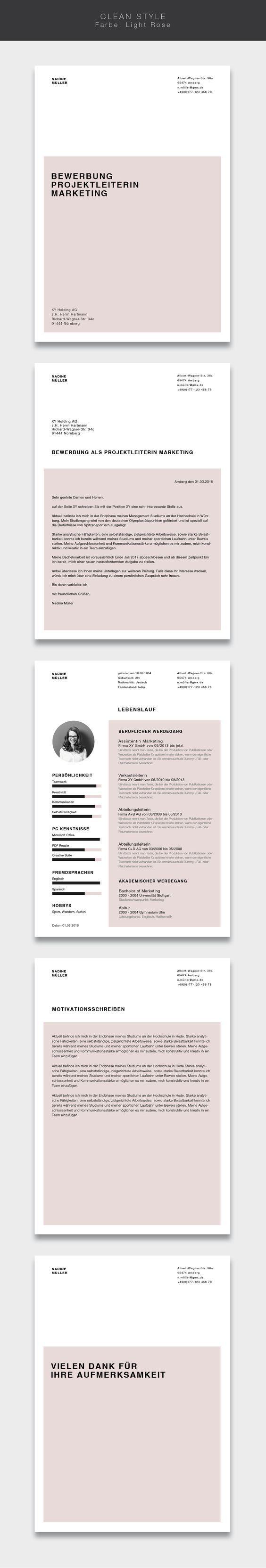 """Unsere Bewerbungsvorlage ( #cvtemplate ) """"Clean Style"""" in der Farbe Light Rose. Less is more. Einfaches und übersichtliches Design kombiniert mit einem strukturierten Aufbau. Mit der Vorlage """"Clean Style"""" lassen Sie alle Mitbewerber verblassen. Sie erhalten von uns ein Deckblatt, Anschreiben, Lebenslauf, Motivationsschreiben und Abschlussseite. Die Datei bekommen Sie als fertige Pages- oder Word-Datei inklusive Platzhaltertext mit Hinweisen. #grafikdesign #fashion"""