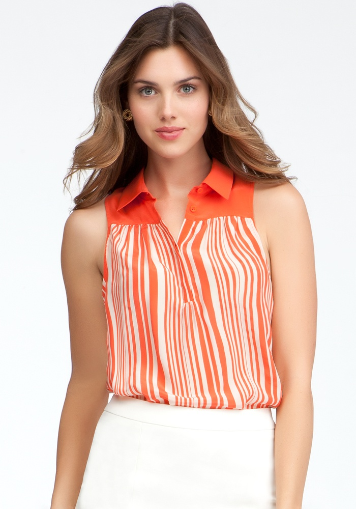 Variegated Stripe Collared Tank - Hot Coral/Cement - Xxs