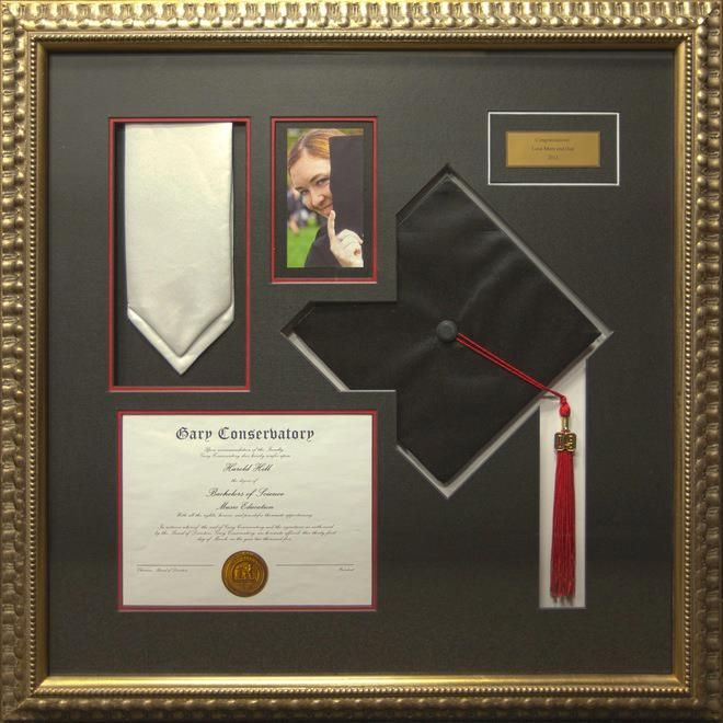 highlight your grads achievement with a customized frame featuring special items like their diploma class ring graduation photos and more