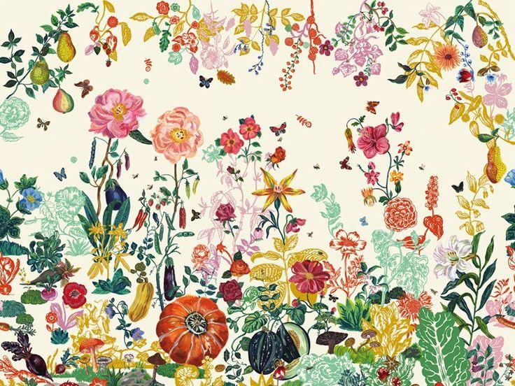 descarga el catlogo y solicita al fabricante domestic los precios de papel pintado de flores jardin