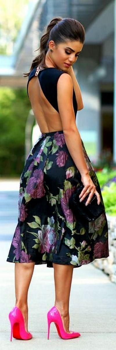 Модные черные и белые платья с белыми и красными цветами: вечерние, длинные в пол и короткие модели