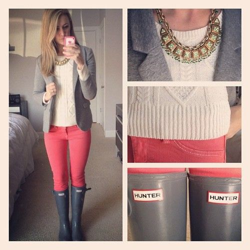 grey blazer and hunter boots with pink skinny jeans and cream cable knit sweater