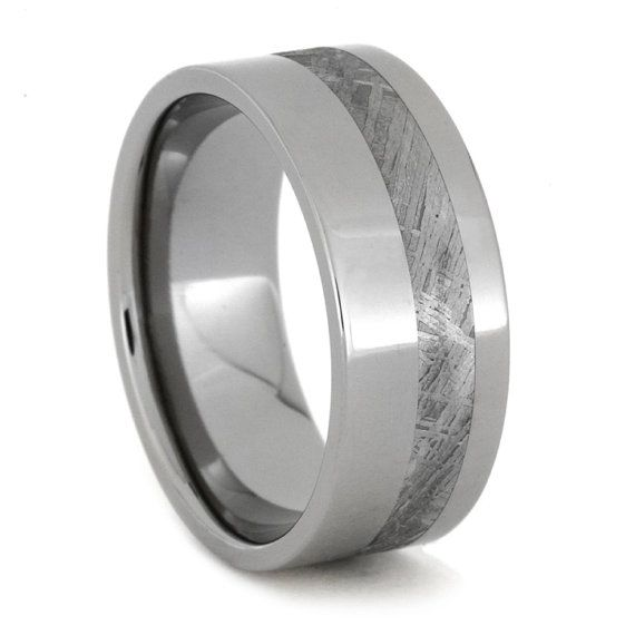 Meteorite Ring Titanium Wedding Ring Inlaid with by jewelrybyjohan