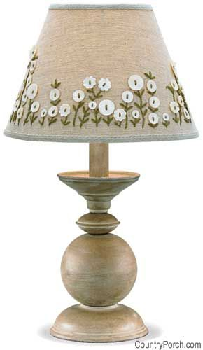 Lampshade looks wonderful with button flowers & some embroidery!