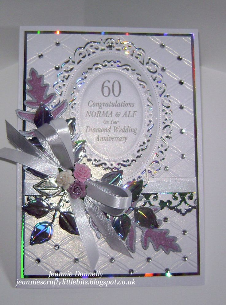 wedding card manufacturers in tamilnadu%0A Diamond Wedding Anniversary this time  so I u    ve blinged it up a bit with  holographic card Floral Ovals  Accents Togethter Emb Folder