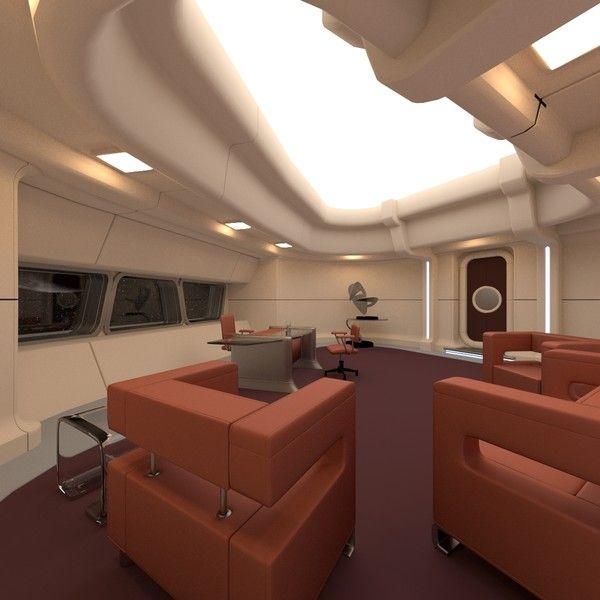 Ultra Modern Interior Design: Sci Fi Spacehip Captain's Office - $149