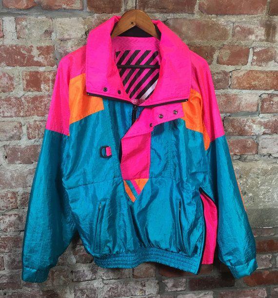 Vintage 80s esquí chaqueta Sunbuster neón rosa por gifthorsevintage
