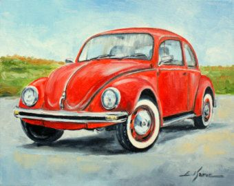 Original ,signed by Luke Karcz VW BEETLE oil painting reproductions on canvas print.