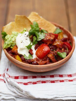 Jamie Oliver's vegetarian sweet potato chili.  I might add some chicken myself, but it looks good as is as well.