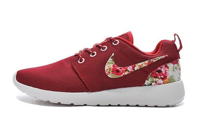 Nike Roshe Run Maroon Red Floral Flower Custom Sneakers - Womens Shoes.