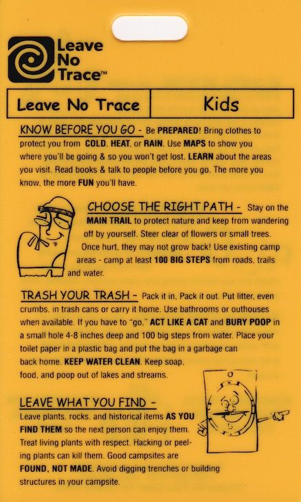 Requirement #5 (and Requirement #7 for Camper) -- Recite the Outdoor Code and the Leave No Trace Principles for Kids from memory.  Talk about how you can demonstrate them on your Webelos adventures.  After a camp out, talk about how you did follow them.