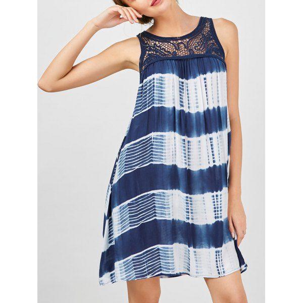 Cutwork Tie Dye Sátor ruha - M kék és fehér
