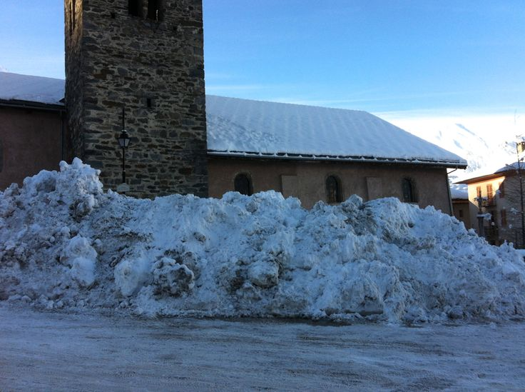 Always great to see a pile of snow outside the church