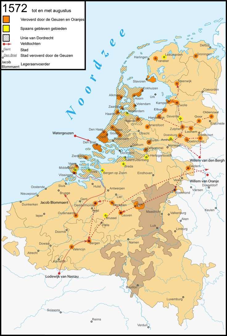"1572 - Conquests by the ""Geuzen"" and the House of Orange. The Geuzen (the Beggars) was a name assumed by the confederacy of Calvinist Dutch nobles, who from 1566 opposed Spanish rule in the Netherlands. The most successful group of them operated at sea, and so were called Watergeuzen. The Capture of Brielle by the Watergeuzen in 1572 provided the first foothold on land for the rebels, who would conquer the northern Netherlands and establish an independent Dutch Republic."