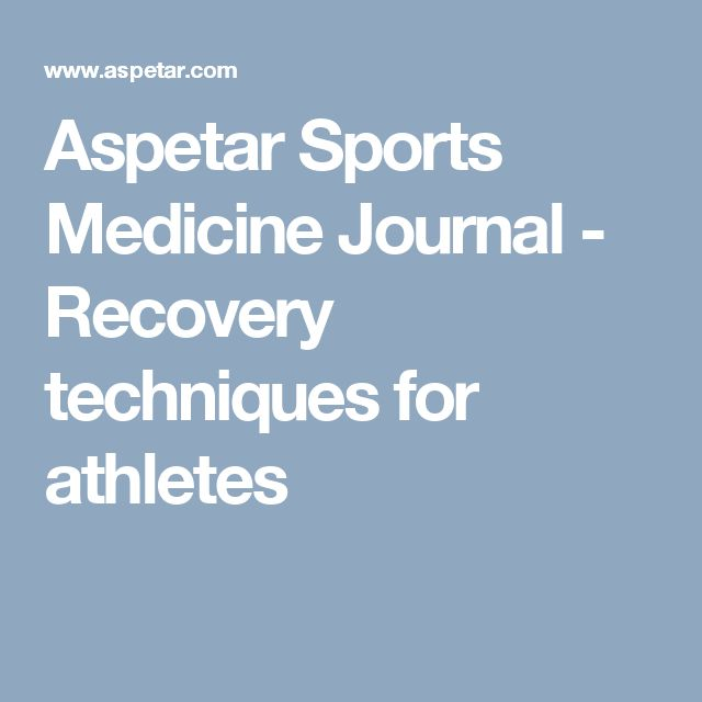Aspetar Sports Medicine Journal  -  Recovery techniques for athletes