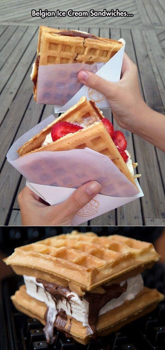 Belgian Waffle Ice Cream Sandwiches.