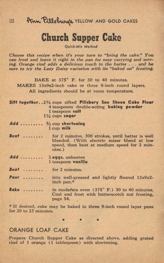 Church Supper Cake Recipe
