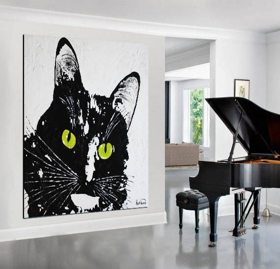 Black CAT PRINT Canvas Stretched Ready To Hang Large Print Modern Print Canvas Art Wall Art Decor by Kathleen Artist
